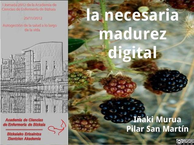 la necesaria  madurez   digital       Iñaki Murua     Pilar San Martín
