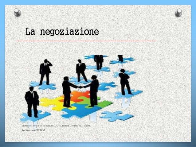 La negoziazione Materiale concesso in licenza (CC) Creatice Commons – share. Realizzazione MBKM