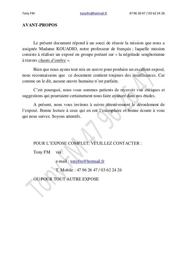 Tony FM tonyfm@hotmail.fr 47 96 26 47 / 03 62 24 26 AVANT-PROPOS Le présent document répond à un souci de réussir la missi...