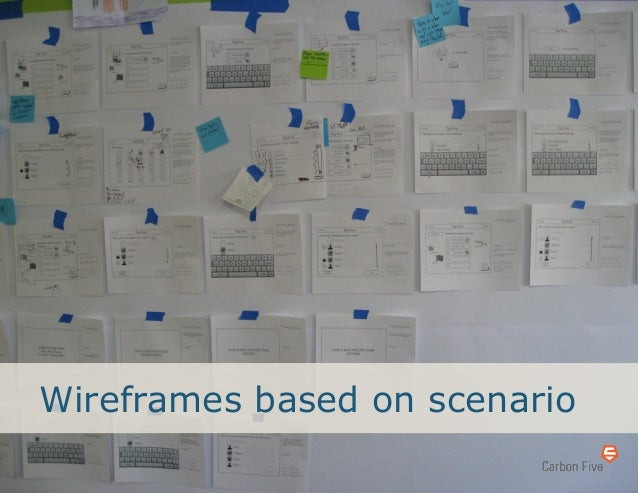 Wireframes based on scenario
