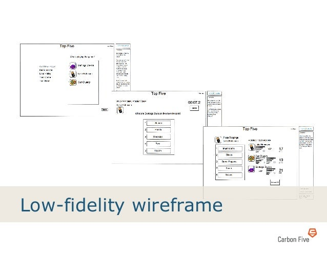 Low-fidelity wireframe