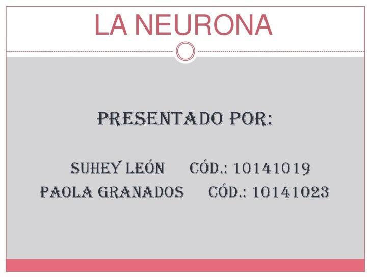 LA NEURONA     Presentado por:   Suhey León Cód.: 10141019Paola Granados Cód.: 10141023