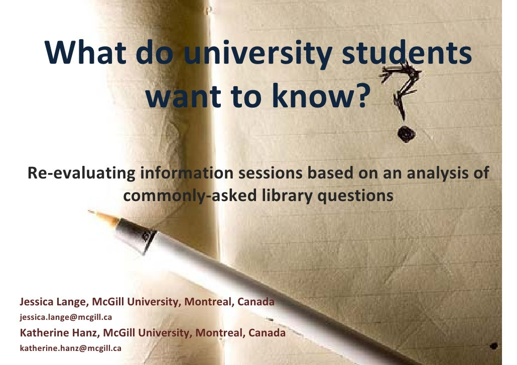 What do university students           want to know? Re‐evaluating information sessions based on an analysis of            ...