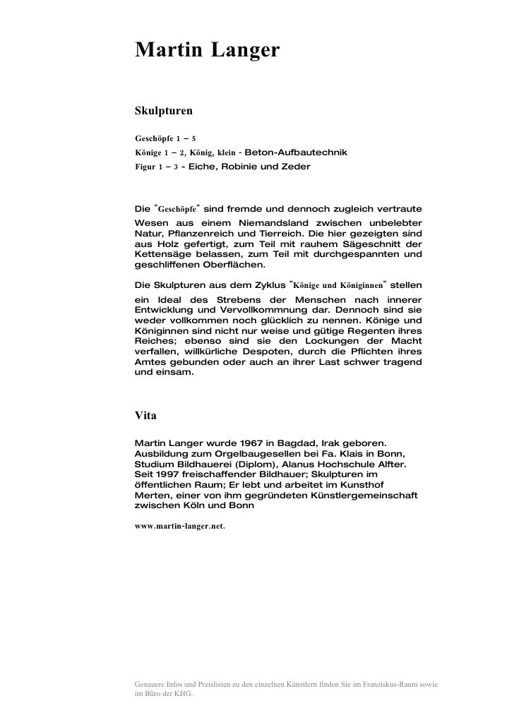 Martin Langer  Skulpturen  Geschöpfe 1 – 5 Könige 1 – 2, König, klein - Beton-Aufbautechnik Figur 1 – 3 - Eiche, Robinie u...