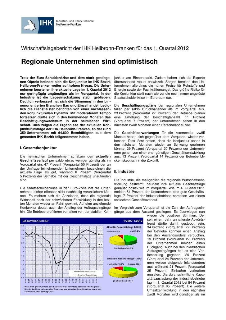 Wirtschaftslagebericht der IHK Heilbronn-Franken für das 1. Quartal 2012Regionale Unternehmen sind optimistischTrotz der E...