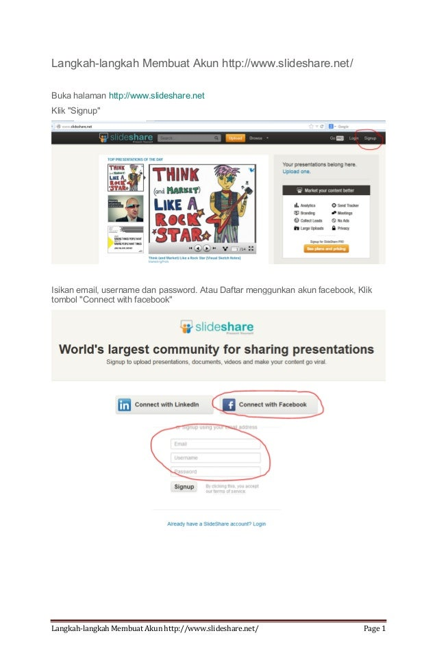 Langkah-langkah Membuat Akun http://www.slideshare.net/ Page 1 Langkah-langkah Membuat Akun http://www.slideshare.net/ Buk...