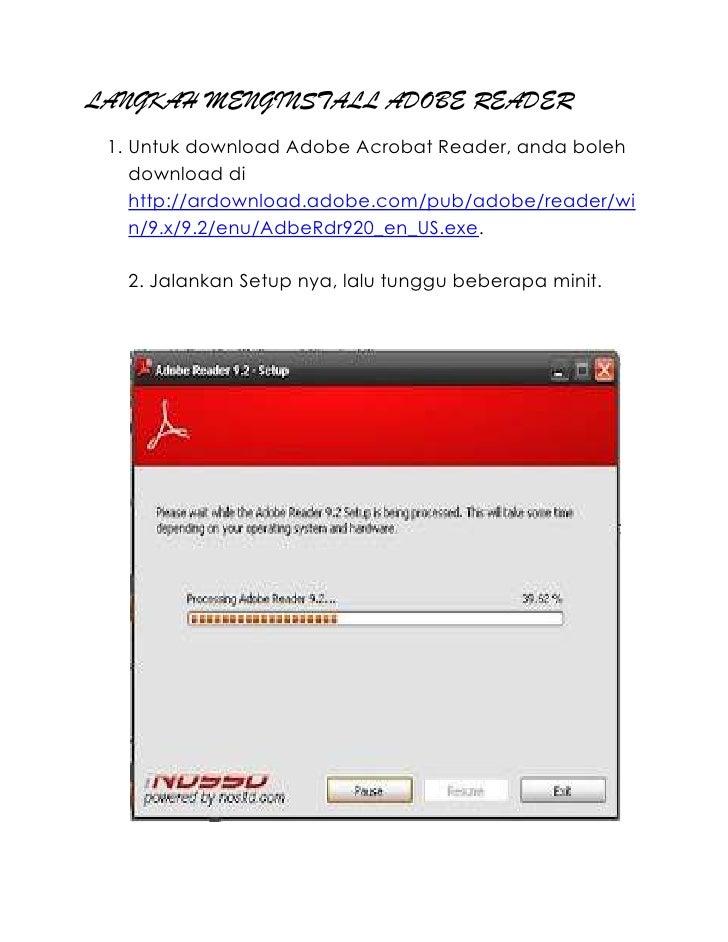 LANGKAH MENGINSTALL ADOBE READER 1. Untuk download Adobe Acrobat Reader, anda boleh    download di    http://ardownload.ad...