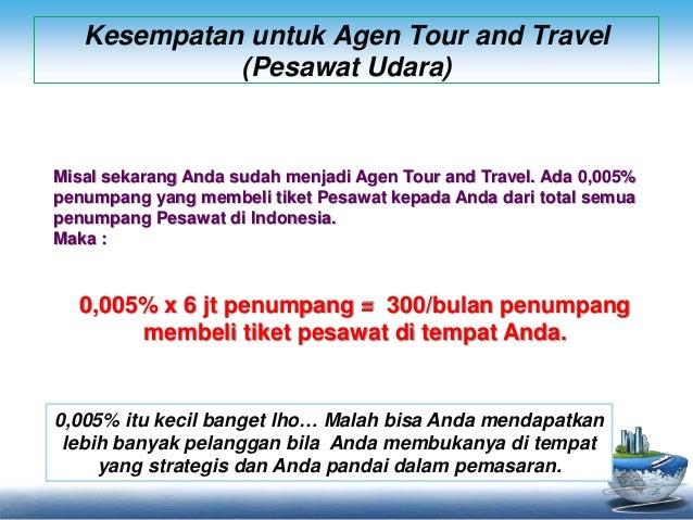 Kesempatan untuk Agen Tour and Travel  (Pesawat Udara)  Misal sekarang Anda sudah menjadi Agen Tour and Travel. Ada 0,005%...