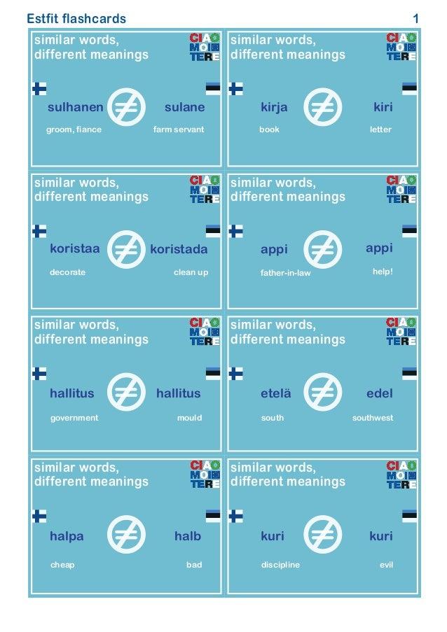 Langlete flashcards similar different meanings Finnish Estonian
