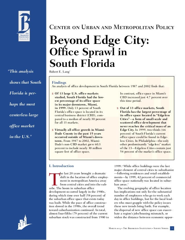 Center on Urban and Metropolitan Policy                   Beyond Edge City:                   Office Sprawl in            ...