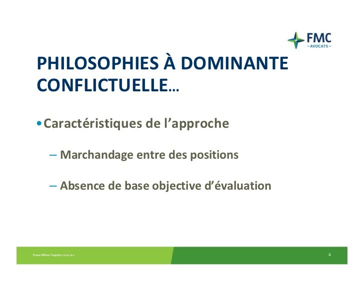 PHILOSOPHIESÀ DOMINANTECONFLICTUELLE…•Caractéristiquesdel'approche  – Marchandageentredespositions  – Absencedeba...