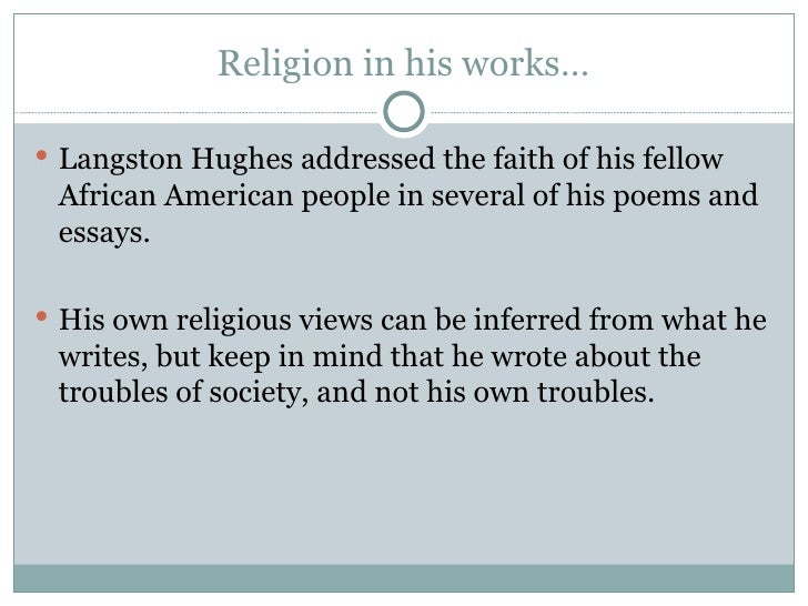 religion as a cult in salvation by langston hughes A look back at salvation by langston hughes our story begins like many other stories with a setting, main character, and a catchy introduction.