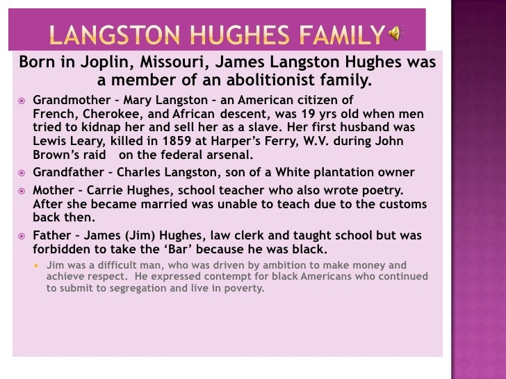 langston hughes struggles On the road with racism: langton hughes life  langston hughes use of snow  hughes spoke of the poverty of the black people and struggles that many went through.
