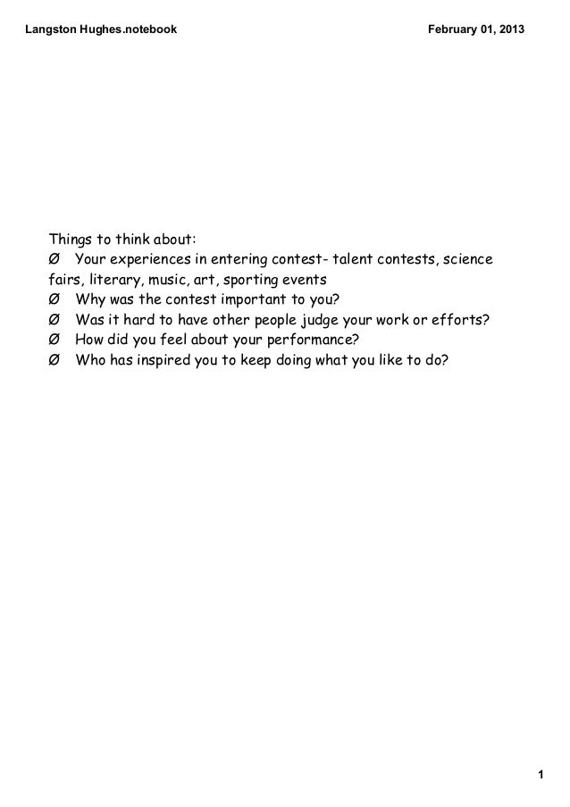 LangstonHughes.notebook                                 February01,2013   Things to think about:   Ø Your experiences i...