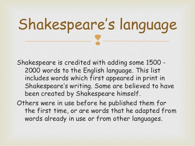 Introduction to Language The Tempest – Shakespeare Language Worksheet
