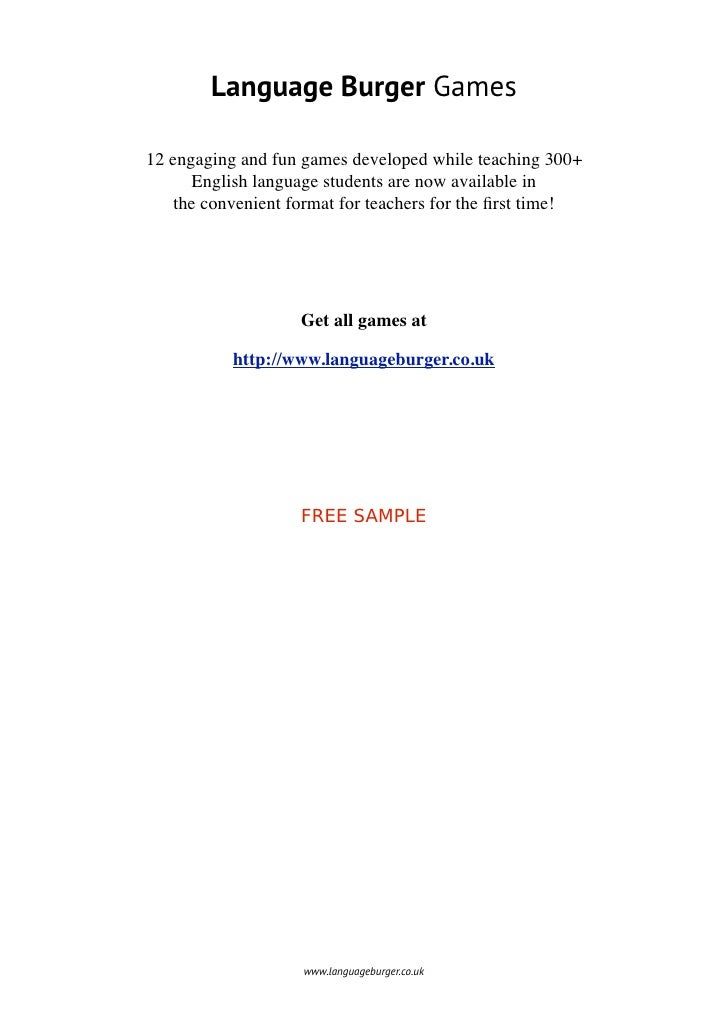 Language Burger Games12 engaging and fun games developed while teaching 300+      English language students are now availa...