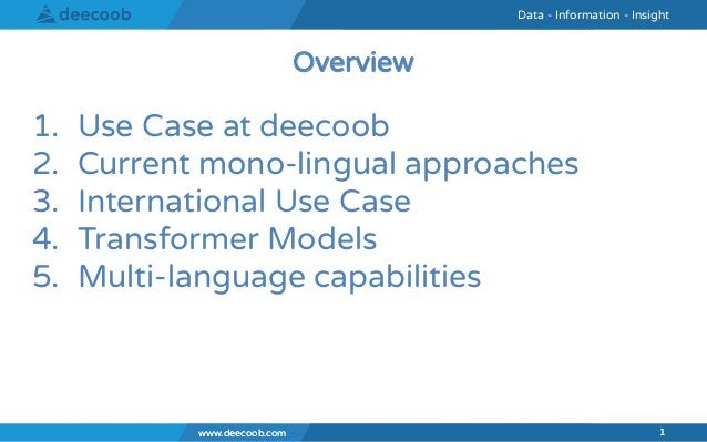 www.deecoob.com 1 Data - Information - InsightData - Information - Insight www.deecoob.com 1 1. Use Case at deecoob 2. Cur...