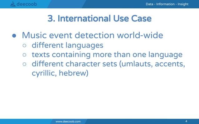 www.deecoob.com 4 Data - Information - InsightData - Information - Insight www.deecoob.com 4 ● Music event detection world...