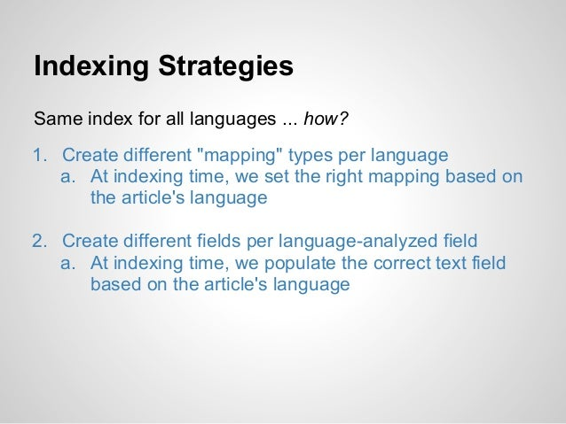 """Indexing StrategiesSame index for all languages ... how?1. Create different """"mapping"""" types per language   a. At indexing ..."""