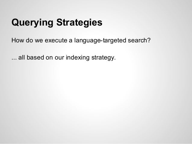 Querying StrategiesHow do we execute a language-targeted search?... all based on our indexing strategy.