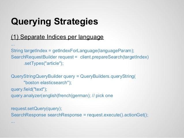 Querying Strategies(1) Separate Indices per language...String targetIndex = getIndexForLanguage(languageParam);SearchReque...