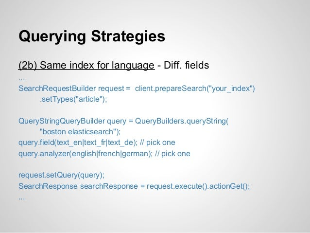 """Querying Strategies(2b) Same index for language - Diff. fields...SearchRequestBuilder request = client.prepareSearch(""""your..."""