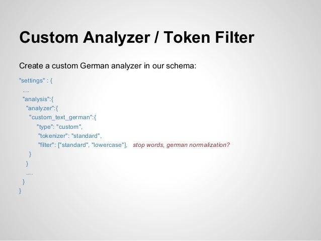"""Custom Analyzer / Token FilterCreate a custom German analyzer in our schema:""""settings"""" : {  ....  """"analysis"""":{    """"analyze..."""