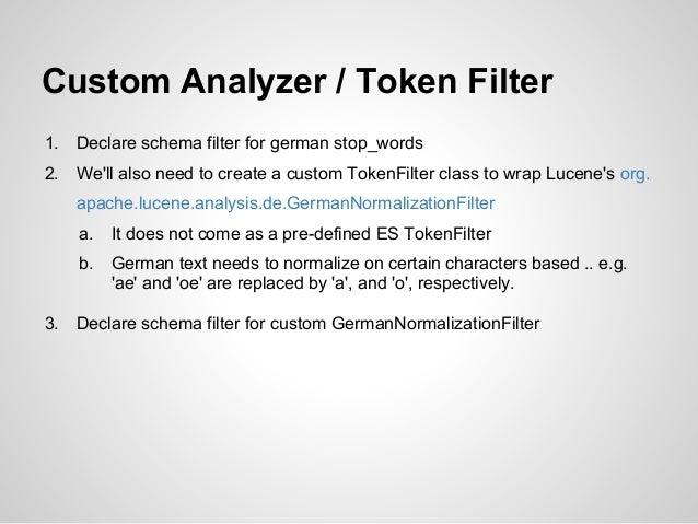 Custom Analyzer / Token Filter1.   Declare schema filter for german stop_words2.   Well also need to create a custom Token...
