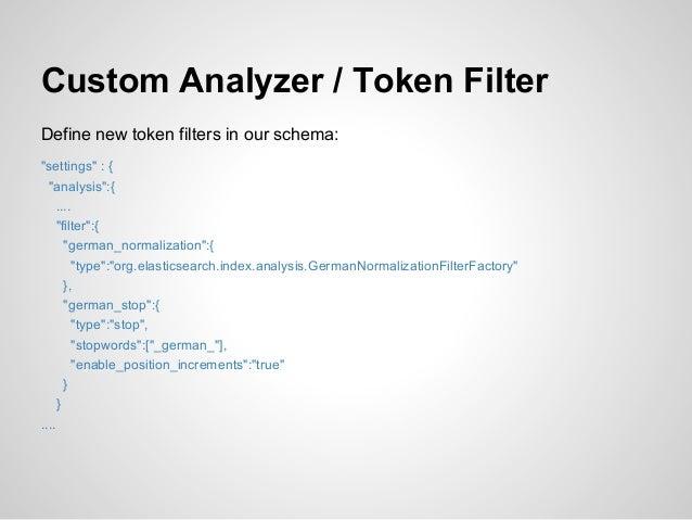"Custom Analyzer / Token FilterDefine new token filters in our schema:""settings"" : {  ""analysis"":{     ....     ""filter"":{ ..."