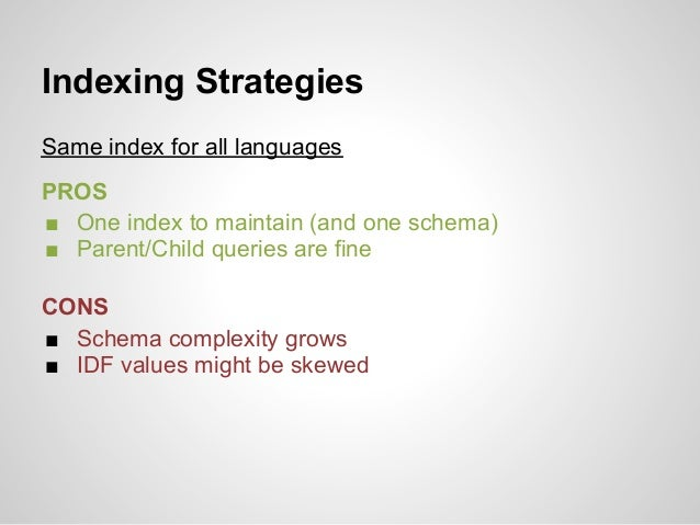 Indexing StrategiesSame index for all languagesPROS■ One index to maintain (and one schema)■ Parent/Child queries are fine...