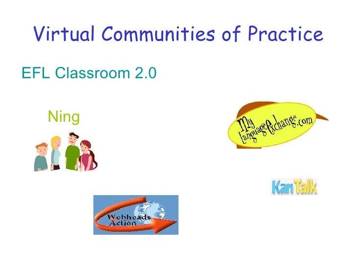 Virtual Communities of Practice <ul><li>EFL  Classroom  2.0 </li></ul><ul><li>Ning  </li></ul>