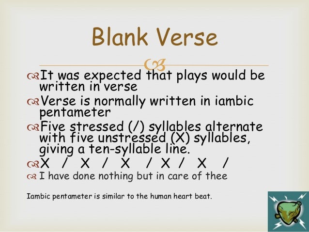 Verse Types In The Tempest Relate These To Act 1