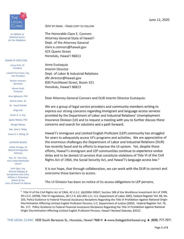Language Access Letter To DLIR