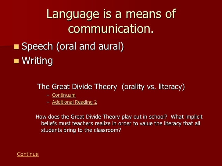 oral communication theory Principles of communication  oral communication provides more opportunity for both the sender and the receiver to let off steam, cool down,.