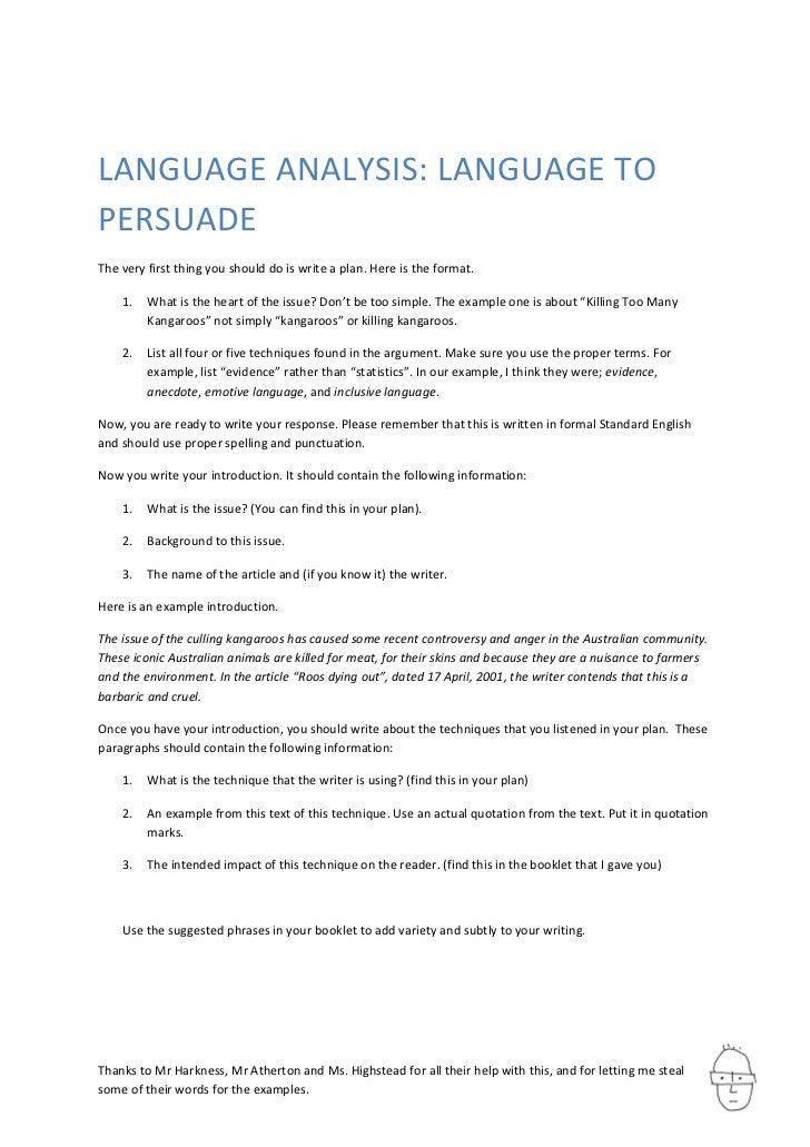 Language Analysis: Language to Persuade