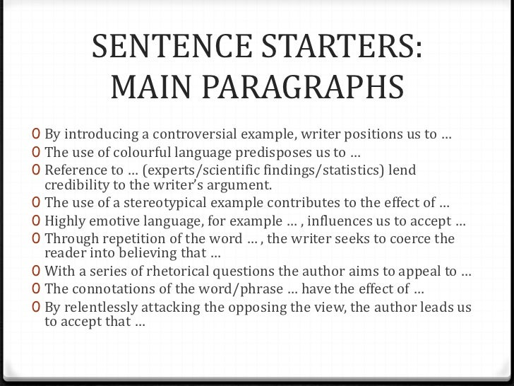analytical essay sentence starters
