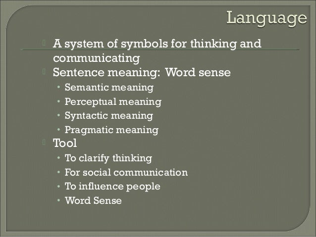 relationship of thought and language