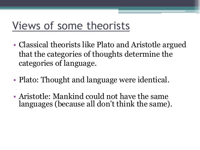 Views of some theorists • Classical theorists like Plato and Aristotle argued that the categories of thoughts determine th...