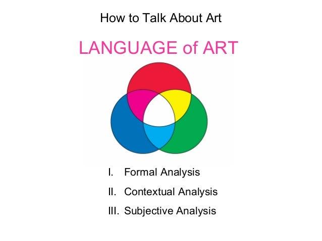 How to Talk About Art LANGUAGE of ART I. Formal Analysis II. Contextual Analysis III. Subjective Analysis