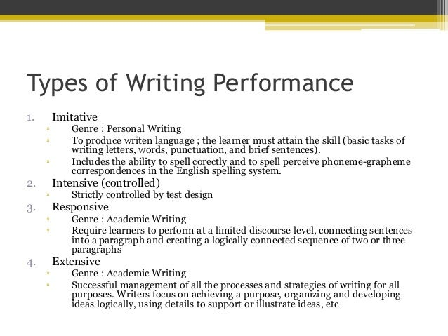different types of writing assessments