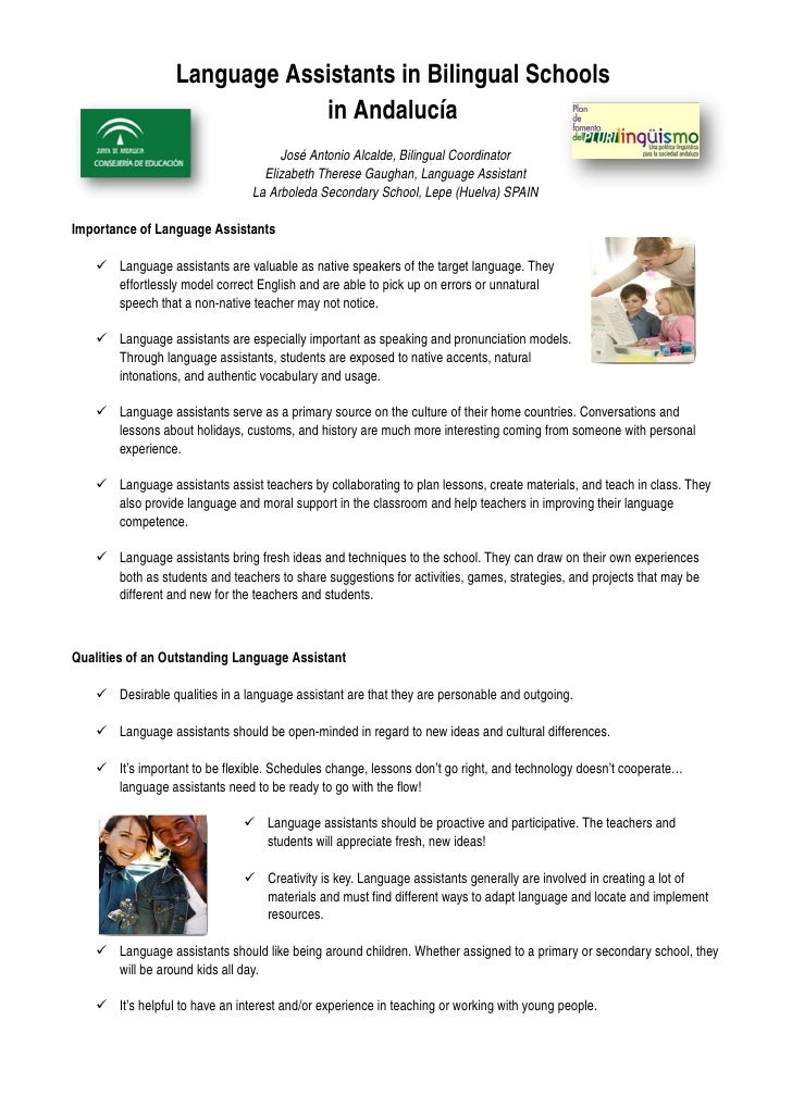 Language Assistants in Bilingual Schools                                 in Andalucía                                     ...