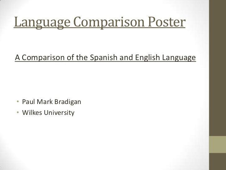 Language Comparison PosterA Comparison of the Spanish and English Language• Paul Mark Bradigan• Wilkes University