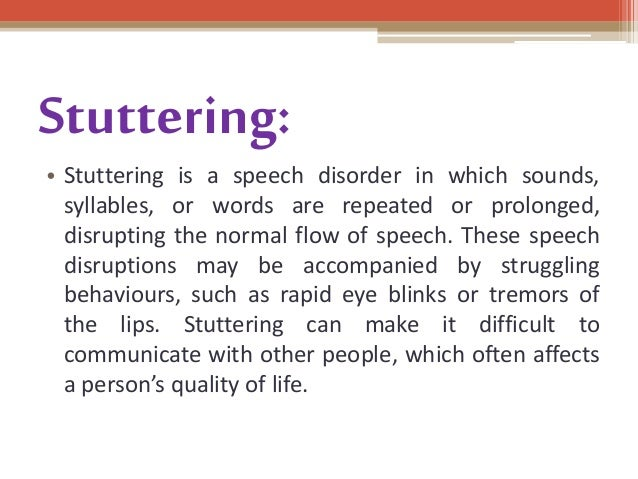 speech disorder What are speech disorders there are many speech disorders that can affect canadians some people suffer from stuttering, lisps, and voice disorders.