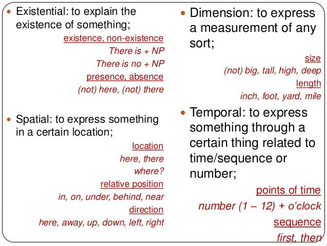 Existential: to explain the               Dimension: to express  existence of something;                   a measuremen...