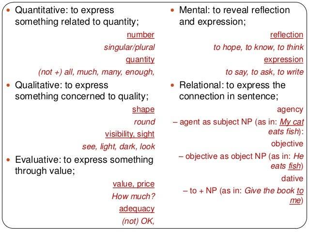  Quantitative: to express                     Mental: to reveal reflection  something related to quantity;              ...