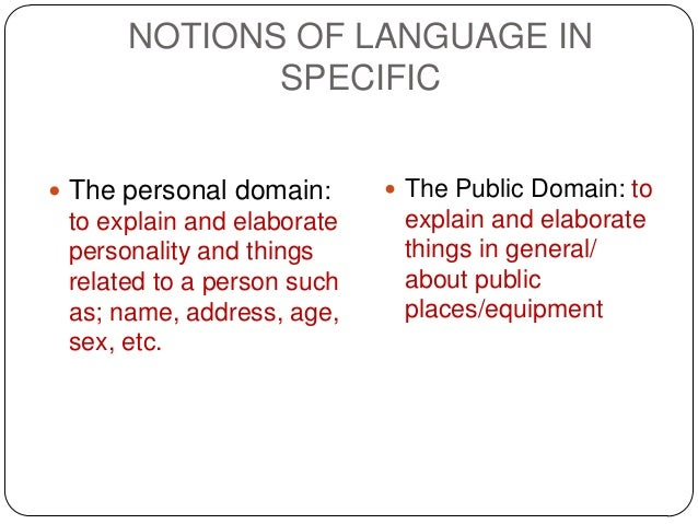 NOTIONS OF LANGUAGE IN             SPECIFIC The personal domain:       The Public Domain: to to explain and elaborate   ...