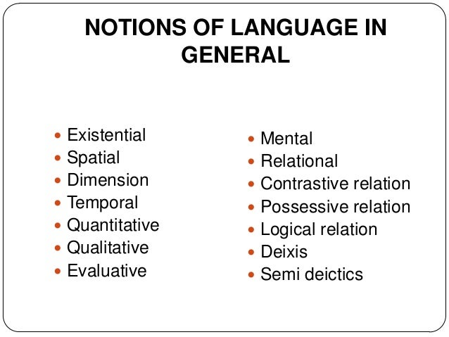 NOTIONS OF LANGUAGE IN           GENERAL Existential     Mental Spatial         Relational Dimension       Contrasti...