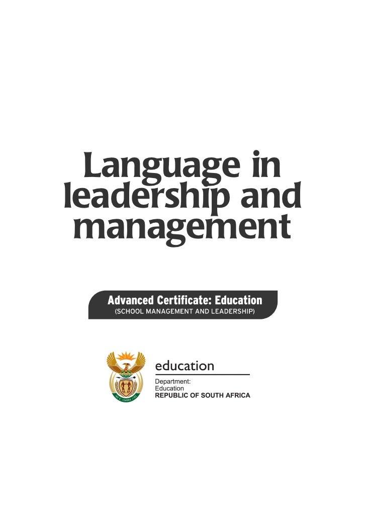 Language inleadership and management