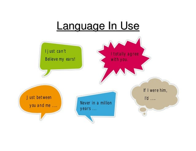 Language In UseLanguage In Use I just can't Believe my ears! I totally agree with you. Just between you and me …. Never in...