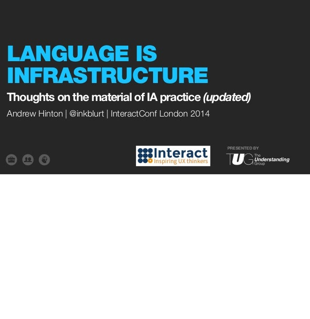 LANGUAGE IS  INFRASTRUCTURE  Thoughts on the material of IA practice (updated)  PRESENTED BY  Andrew Hinton | @inkblurt | ...